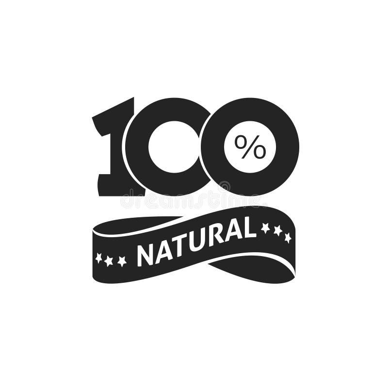 100%自然传染媒介绿色标签黑白邮票或橡胶被隔绝的,自然贴纸或商标标志设计 皇族释放例证