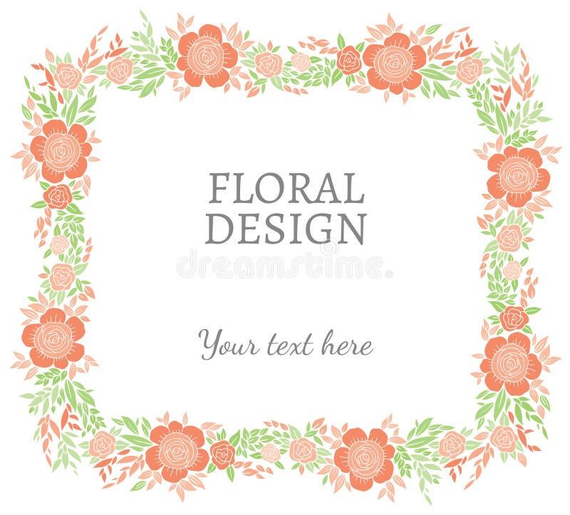 自然传染媒介花卉小插图、框架或者边界 向量例证