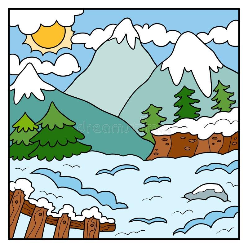 自然例证,颜色背景,冬天山 向量例证