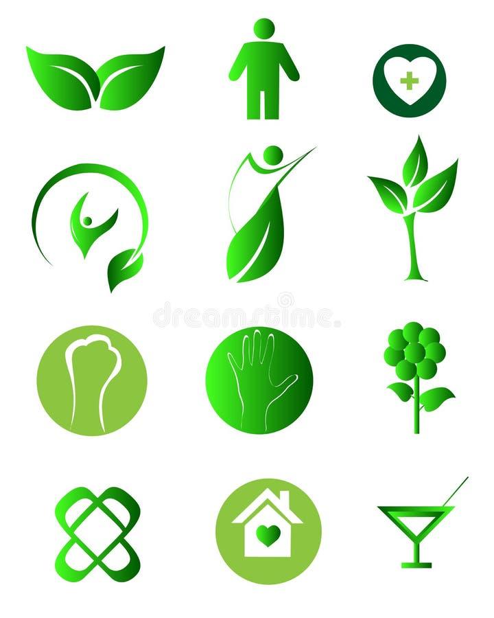 自然健康商标 库存例证