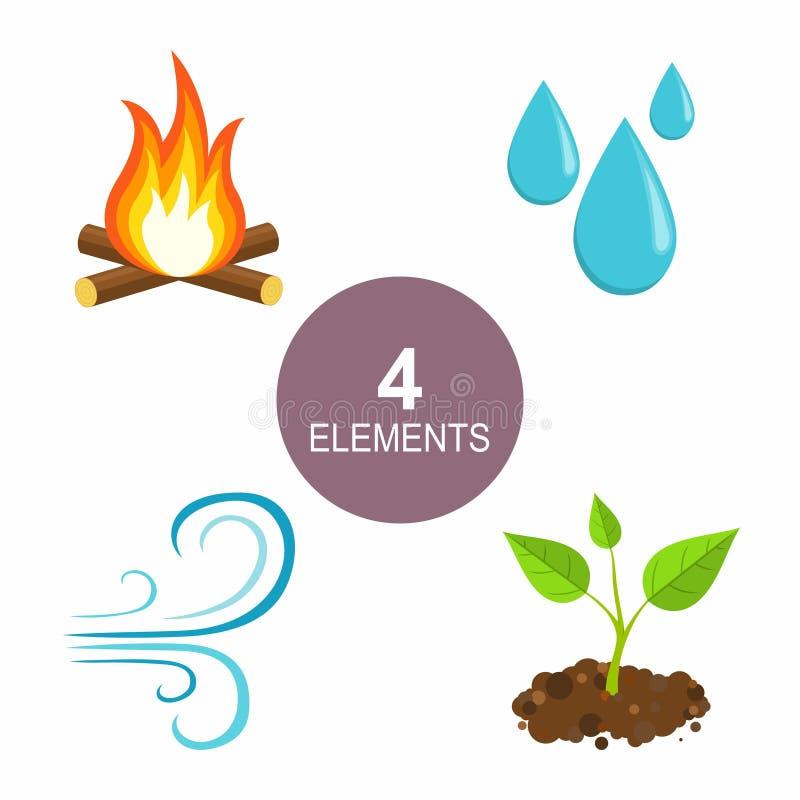 自然元素-火、水、空气和地球 库存例证