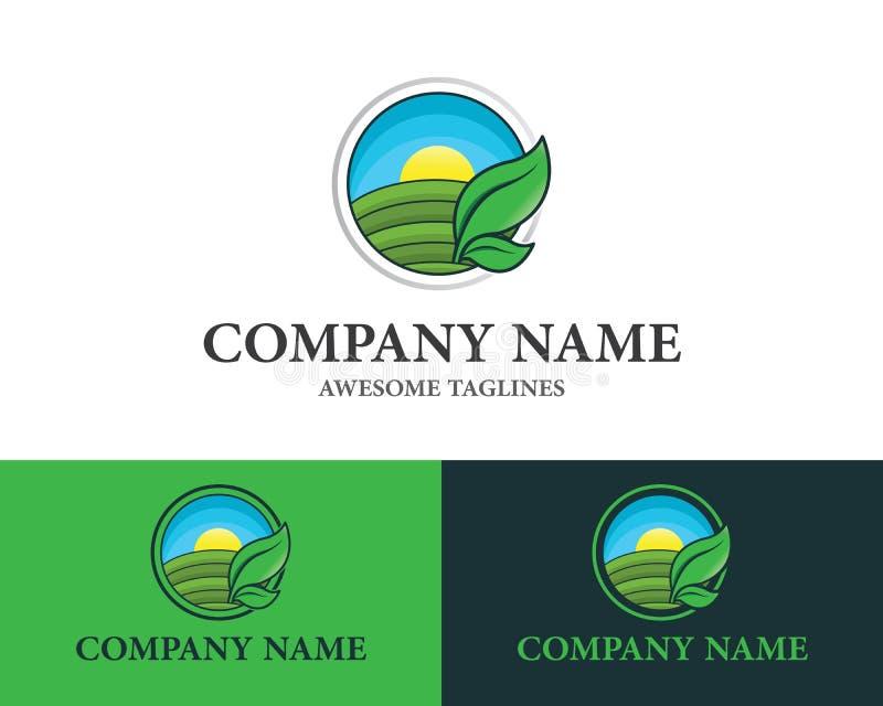 自然农产品商标设计模板平的样式设计的农厂概念 r 库存例证