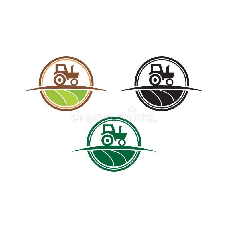 自然农厂商标,农业商标 叶子新商标 传染媒介农业的商标设计 库存例证