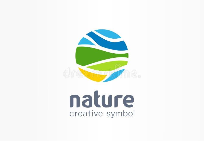 自然创造性的标志行星概念 有机农田摘要企业农业商标 Eco友好的环境 库存例证