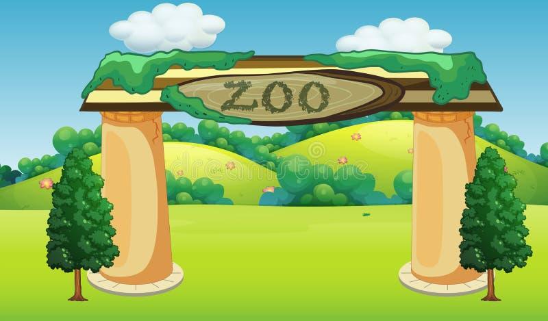 自然动物园模板 库存例证