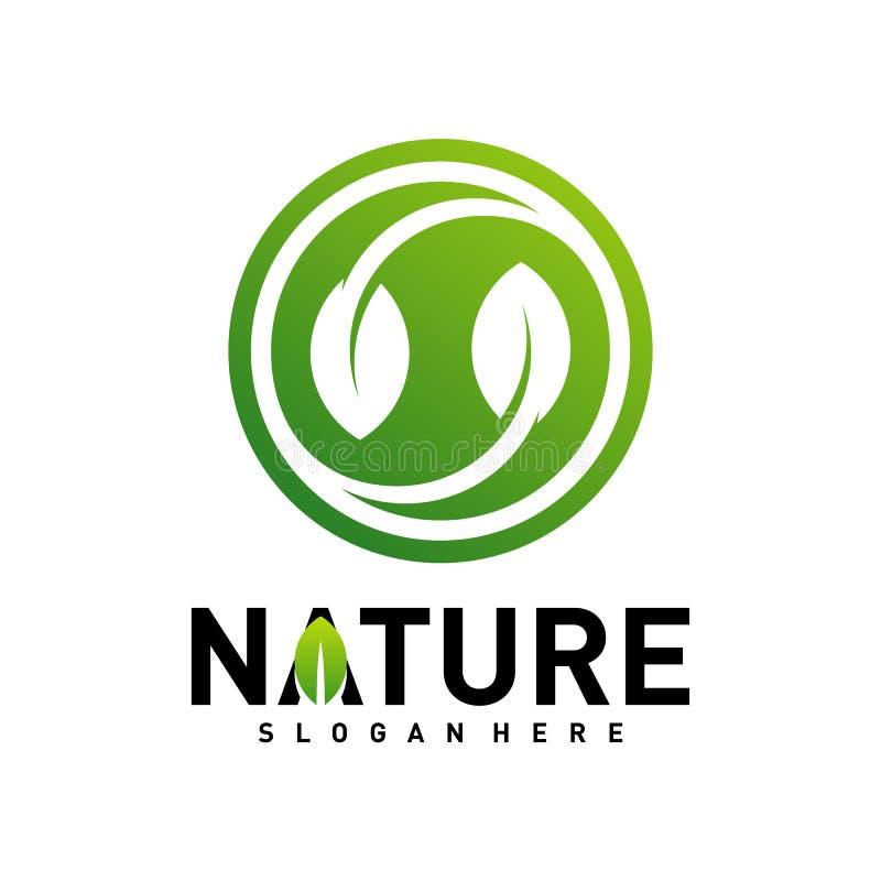 自然叶子绿色商标设计观念 环境商标模板传染媒介 r 皇族释放例证