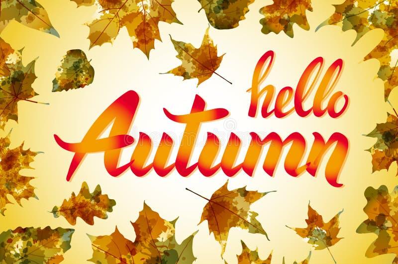 自然叶子 你好,秋天 水彩桔子纹理 向量 皇族释放例证