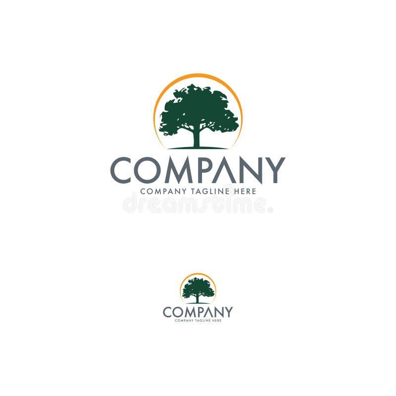 自然和树商标设计模板 皇族释放例证