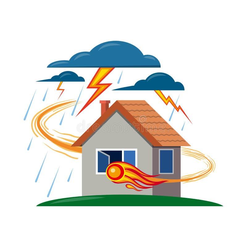 自然和灾害商标的传染媒介例证 套自然和风险储蓄传染媒介例证 库存例证
