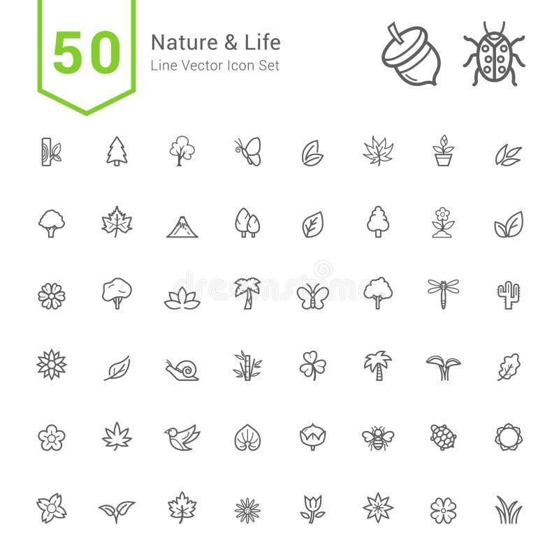 自然和生活象集合 50线传染媒介象 库存例证