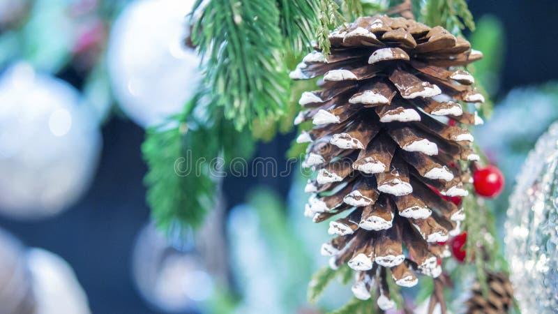 自然圣诞节新年的玩具杉木锥体和圣诞树分支特写镜头 库存照片
