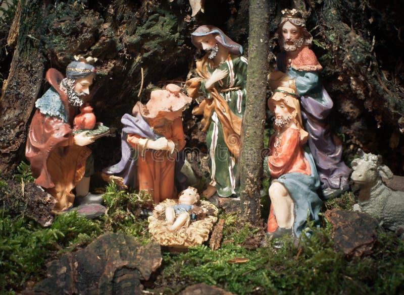 自然圣诞节的小儿床 免版税图库摄影