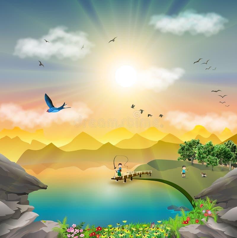 自然在日落湖边钓鱼旅行的山风景 皇族释放例证