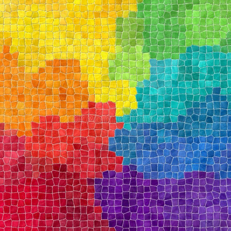 自然大理石塑料石锦砖构造与灰色水泥的背景-充分的光谱彩虹颜色 皇族释放例证