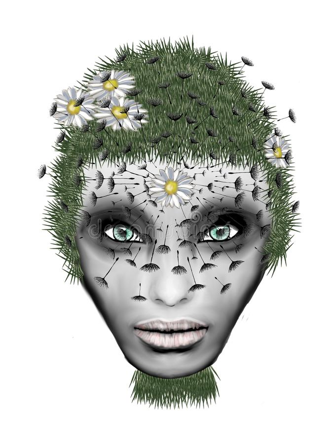 自然女孩以绿色 向量例证