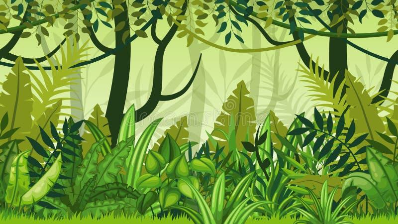 自然密林动画片风景 皇族释放例证