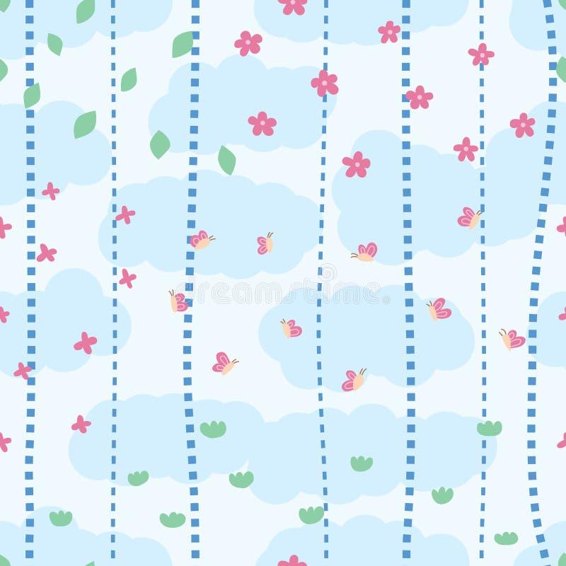 自然小垂直线云彩无缝的样式 库存例证