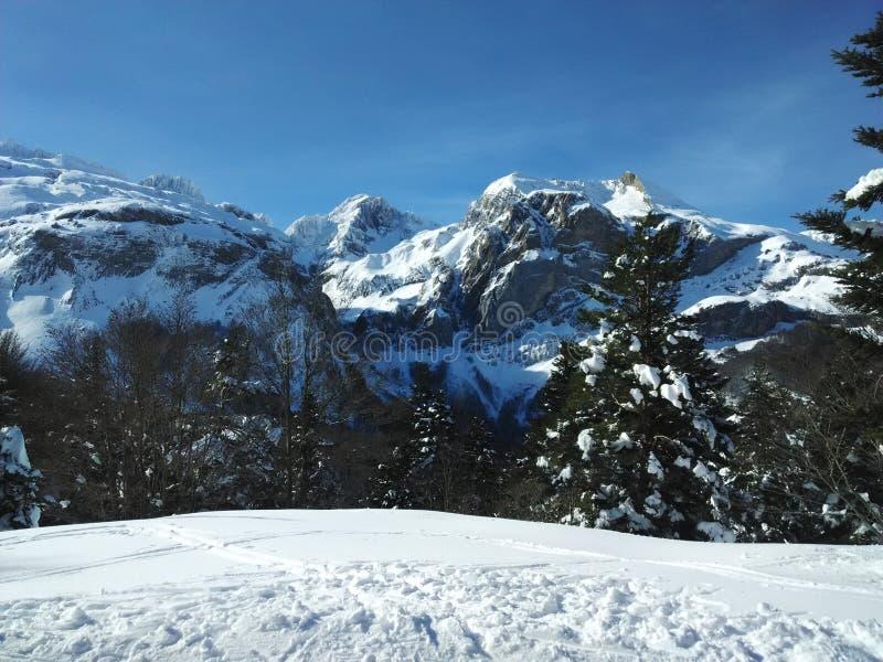 自然山countryskiing的比利牛斯 免版税库存照片