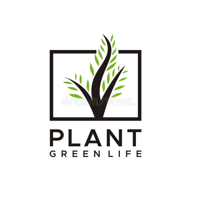自然或树,植物商标设计 库存例证