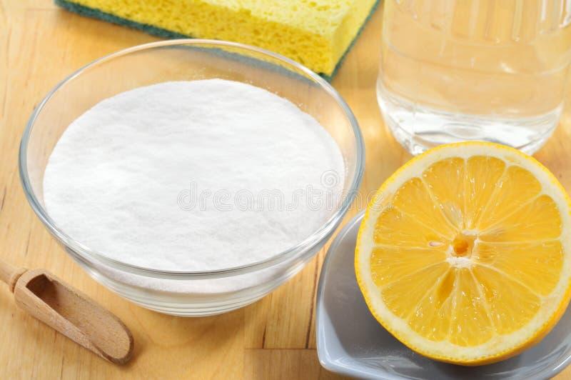 自然擦净剂。醋、发面苏打、盐和柠檬。 免版税库存照片