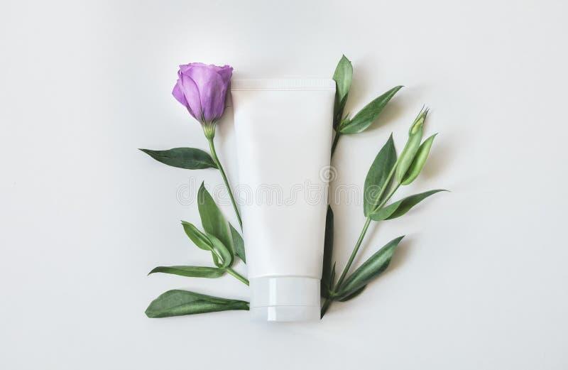 自然有机化妆用品包装的塑料嘲笑与叶子和花 烙记和标签的大模型瓶 库存照片