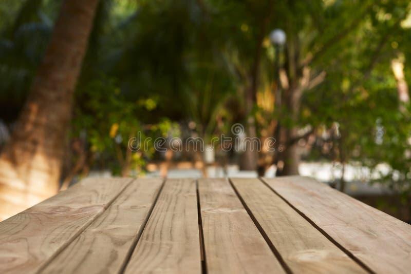 自然木桌和显示空的上面产品安置的在开放树荫下 可可椰子树和绿色热带 库存照片
