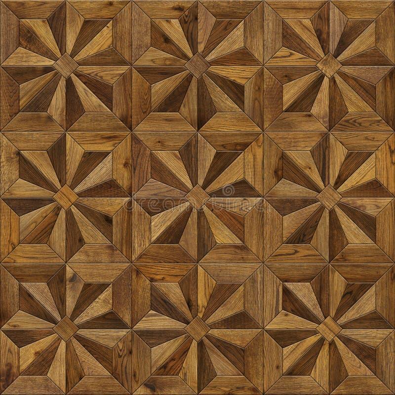 自然木背景八针对性的星, 3d内部的难看的东西木条地板地板设计无缝的纹理 免版税图库摄影