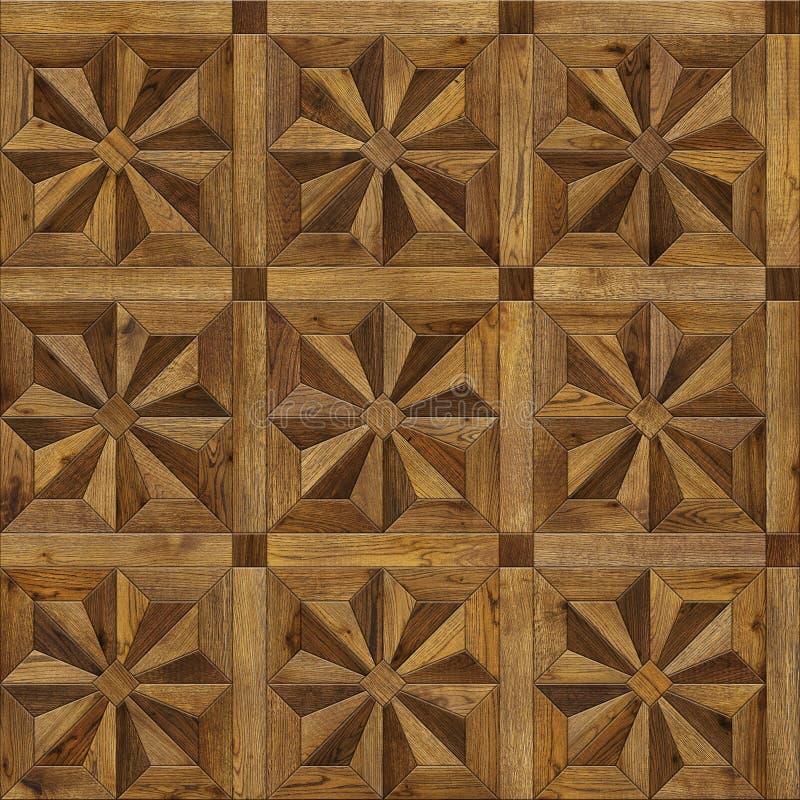 自然木背景八针对性的星, 3d内部的难看的东西木条地板地板设计无缝的纹理 免版税库存照片