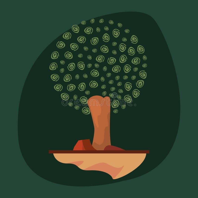 自然树石头图画设计 皇族释放例证
