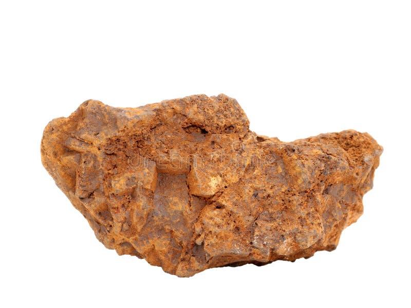 自然样品褐铁矿-其中一块重要铁矿石棕色矿石或在白色背景的沼泽矿石和颜料黄土 库存照片