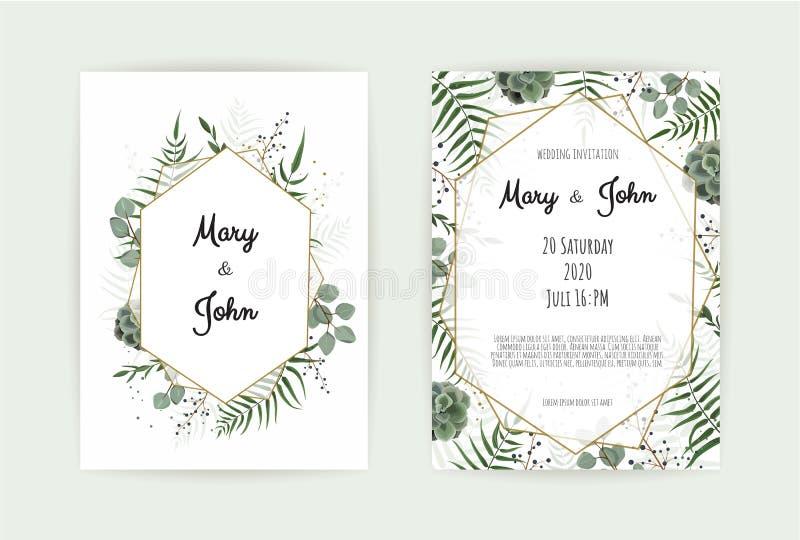 自然植物的婚礼邀请模板 传染媒介花卉设计卡片 几何金黄框架,与拷贝的边界 向量例证