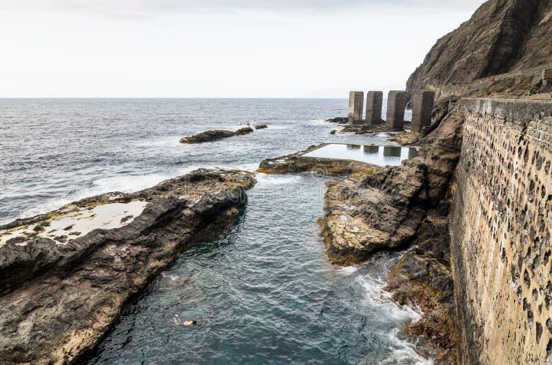 自然水池在戈梅拉岛海岛,加那利群岛 免版税库存照片