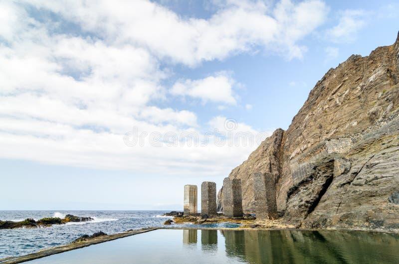 自然水池在戈梅拉岛海岛,加那利群岛 免版税库存图片