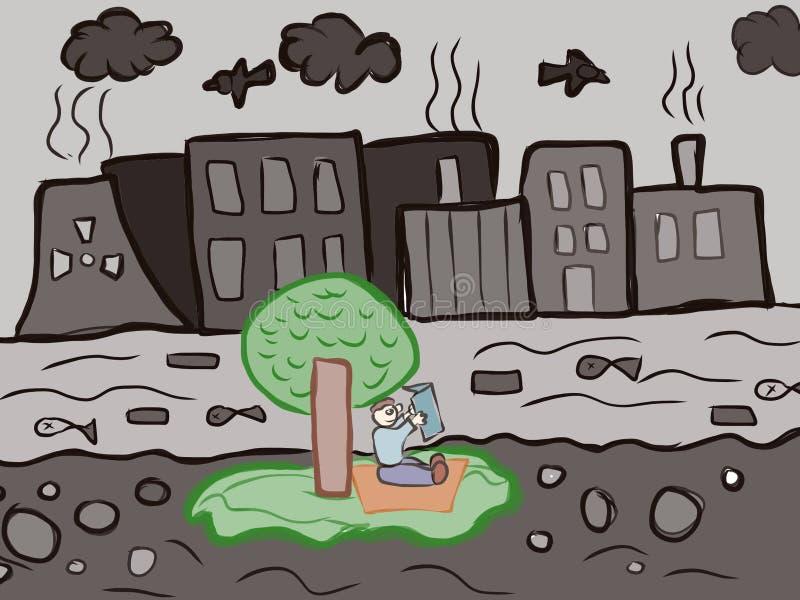 自然污染哄骗艺术性的图画 库存例证