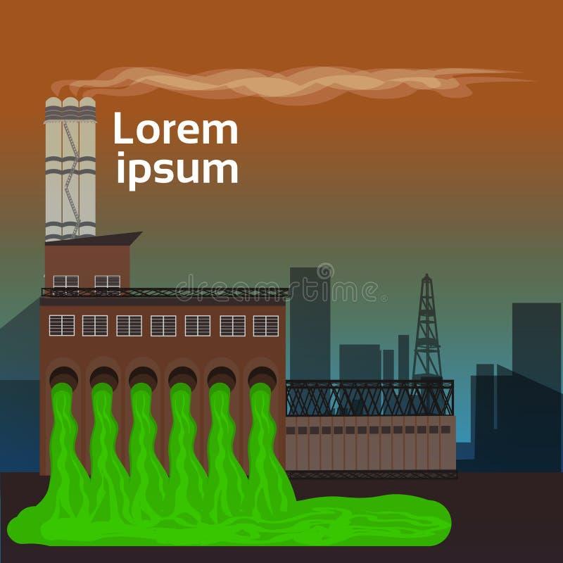 自然污染植物用管道输送肮脏的毒性放射浪费空气和水被污染的环境平的拷贝空间 向量例证