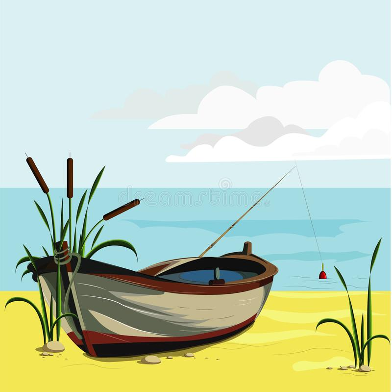 自然河岸小船用茅草盖钓鱼竿浮游物石头放牧晴朗的早晨休息放松记忆金黄沙子云彩天空蔚蓝传染媒介 向量例证