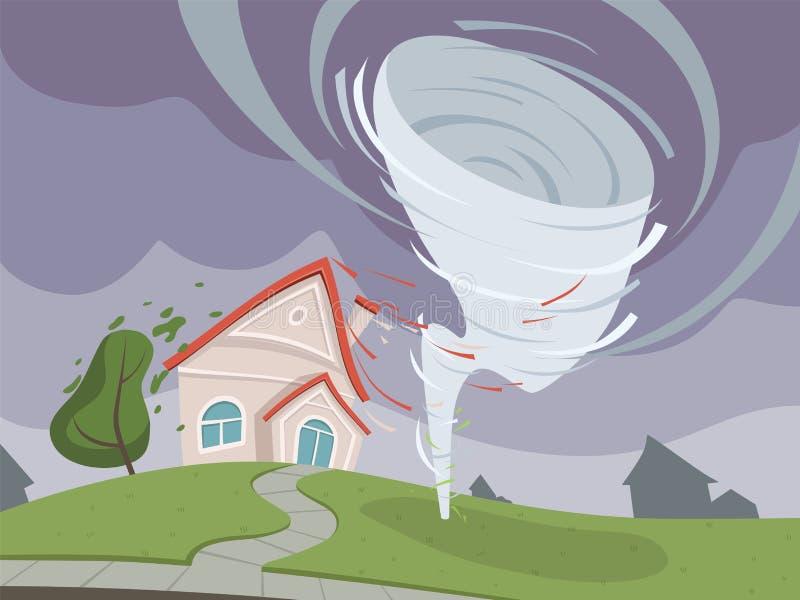 自然灾害背景 天气公害剧烈的启示传染媒介动画片 向量例证