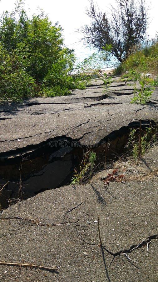 自然灾害,损坏的路 库存图片