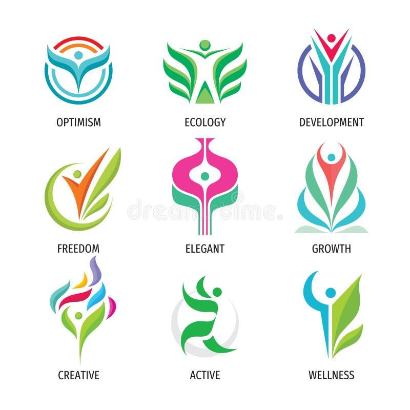 自然生态传染媒介商标集合 人的字符标志 绿色叶子标志 正面发展象 r 库存例证