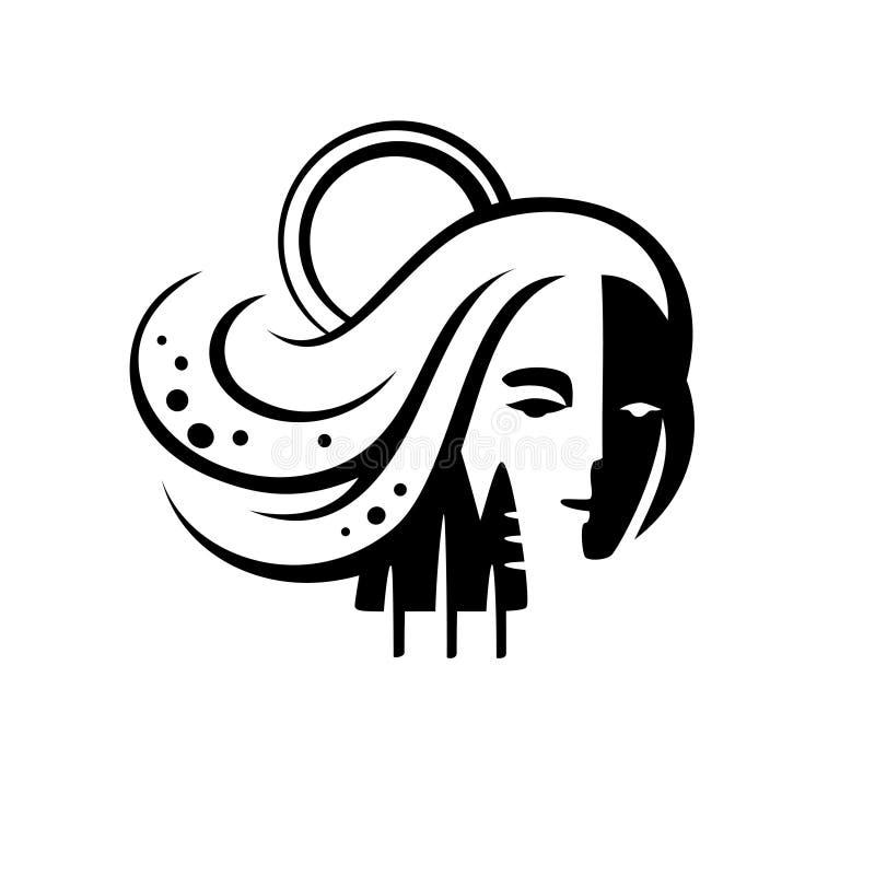 自然的一个生气蓬勃的图象,和谐的女神标志与世界的 自然水商标,传染媒介剪影标志 皇族释放例证