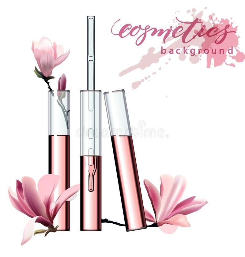 自然的化妆用品 香水 体外花萃取物 化妆广告模板,有精华油的玻璃小滴瓶 向量例证