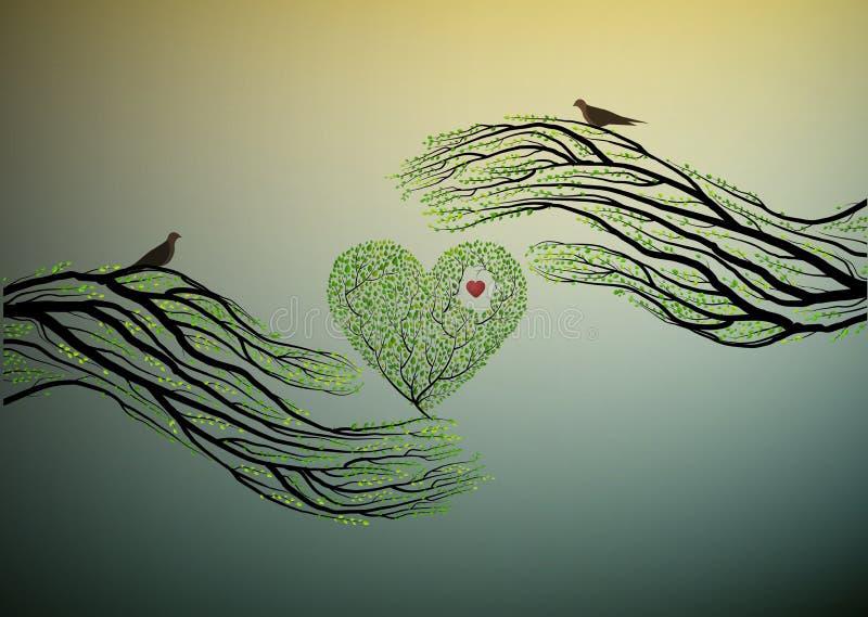 自然的心脏,树型手举行绿色心脏,保护树想法, 库存例证