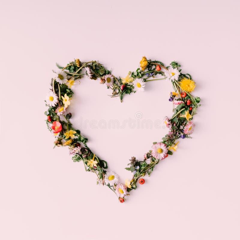 自然的心脏 概念亲吻妇女的爱人 平的位置 图库摄影