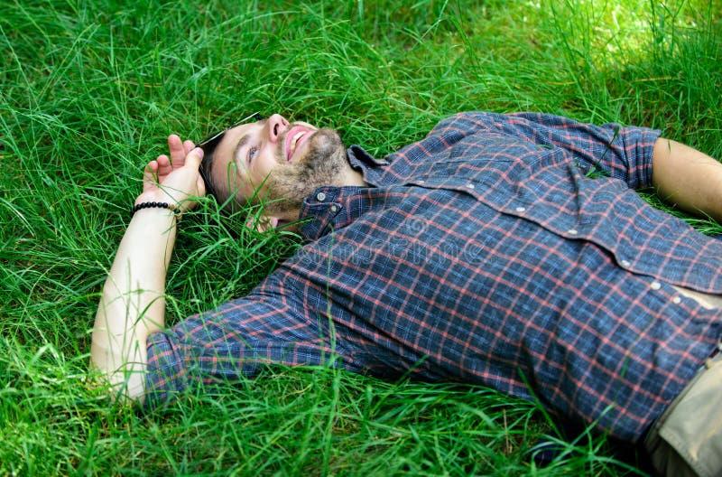 自然的生气勃勃 自然用生气勃勃和启发填装他 平安的人愉快和享受草的生气勃勃 人 免版税库存图片