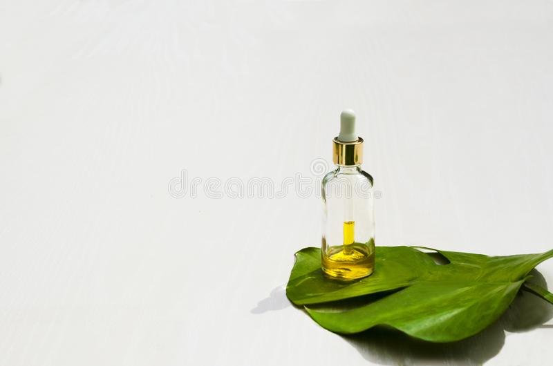 自然皮肤护理美容品 在玻璃瓶的芳香油在一张白色桌上 r r ?? 免版税库存照片