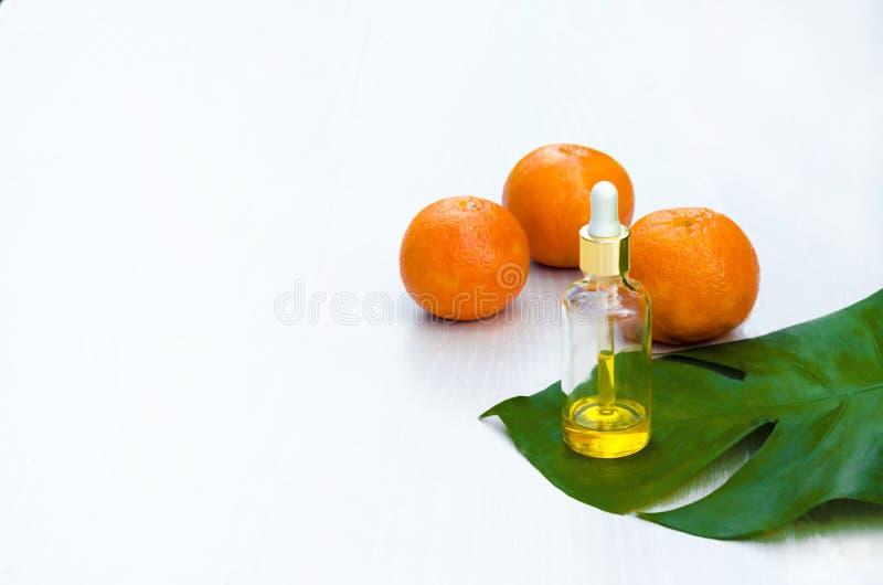 自然皮肤护理美容品 在玻璃瓶,在绿色leav的维生素C血清的芳香油在白色背景 免版税库存图片