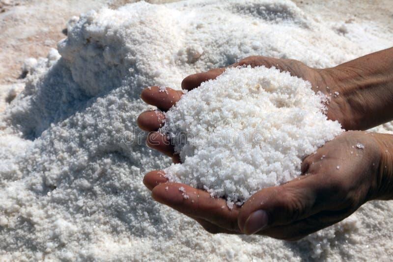 自然盐在工作的黑暗的手上 免版税库存照片