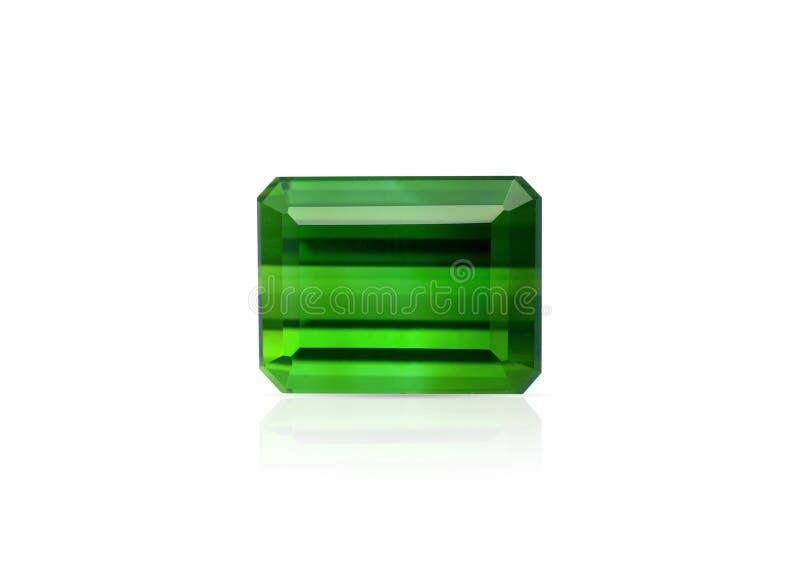 自然绿色电气石宝石 免版税图库摄影