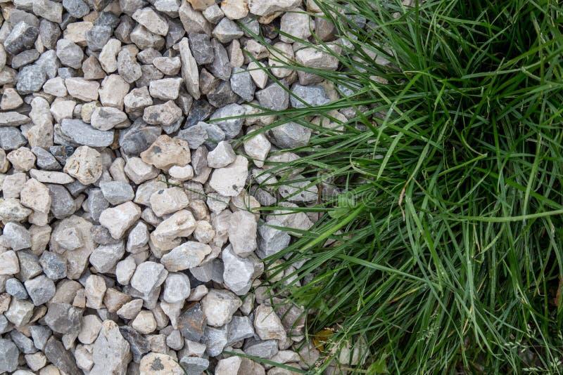 自然绿草的有趣的混合与坚实石头瓦砾的 库存照片