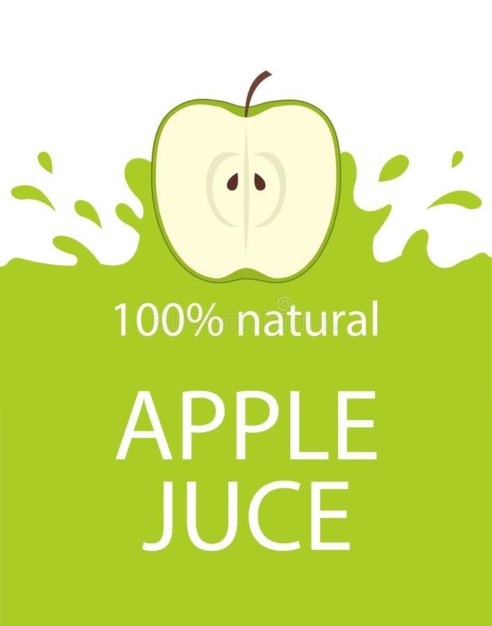 自然苹果汁标签模板 五颜六色的苹果新鲜的汁象征有机新鲜水果,传染媒介例证 皇族释放例证